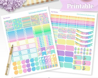 Printable planner stickers. Easter planner stickers. Pastel colors sticker sheet. Stickers for Erin Condren. DIY stickers. Instant download.