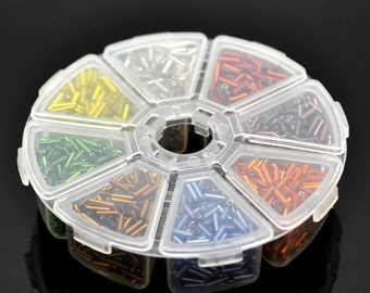1 Mixed Color 8 Section Foil Bugle Seed Beads Kit (S124)