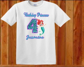Little Mermaid Birthday T Shirt, Personalized, Shirt, Ariel, 12 months to 5T