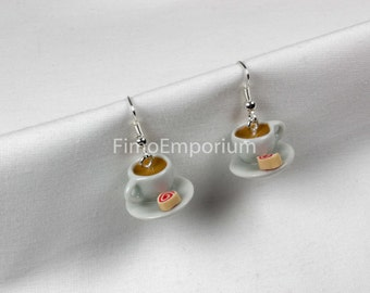 Handmade Fimo Cup and Saucer Tea with Jam Swiss Roll Earrings Boxed