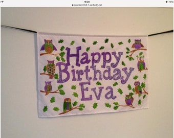 Owl themed personalised fabric birthday banner