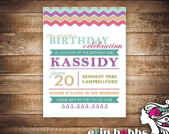 Zig Zag Birthday Celebration Invite