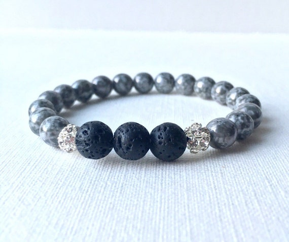Essential Oil Diffuser Bracelet - Lava Rock and grey stone beads with silver plated rhinestone ball stretch bracelet