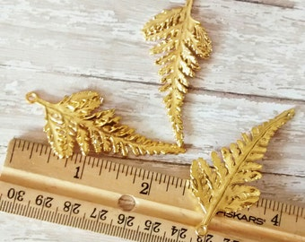 3 piece Gold toned leaf charms