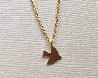 Gold Plated Sparrow Necklace, Tiny Sparrow Necklace, Dove Necklace, Bird Necklace, Matte Gold Sparrow, Gold Bird Necklace, Dainty Sparrow
