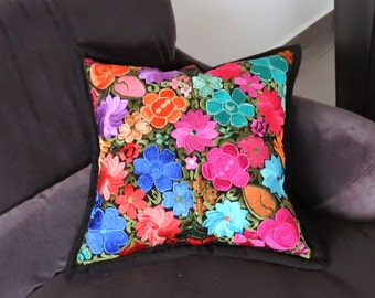 Embroidered pillow cover Black
