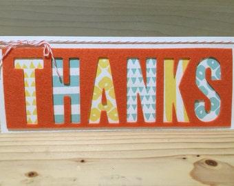 Handmade Thanks Greeting Card Stampin Up Felt Stampin Up