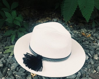 Straw Fedora with Tassel Point and Stripe Band