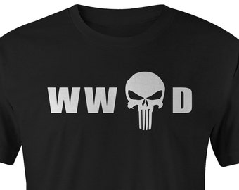 Punisher  T-shirts, WW Punisher D T-shirt, Punisher Tee, Punisher T-shirt, Punisher Tees, Marvel Punisher Tee, What Would Punisher Do