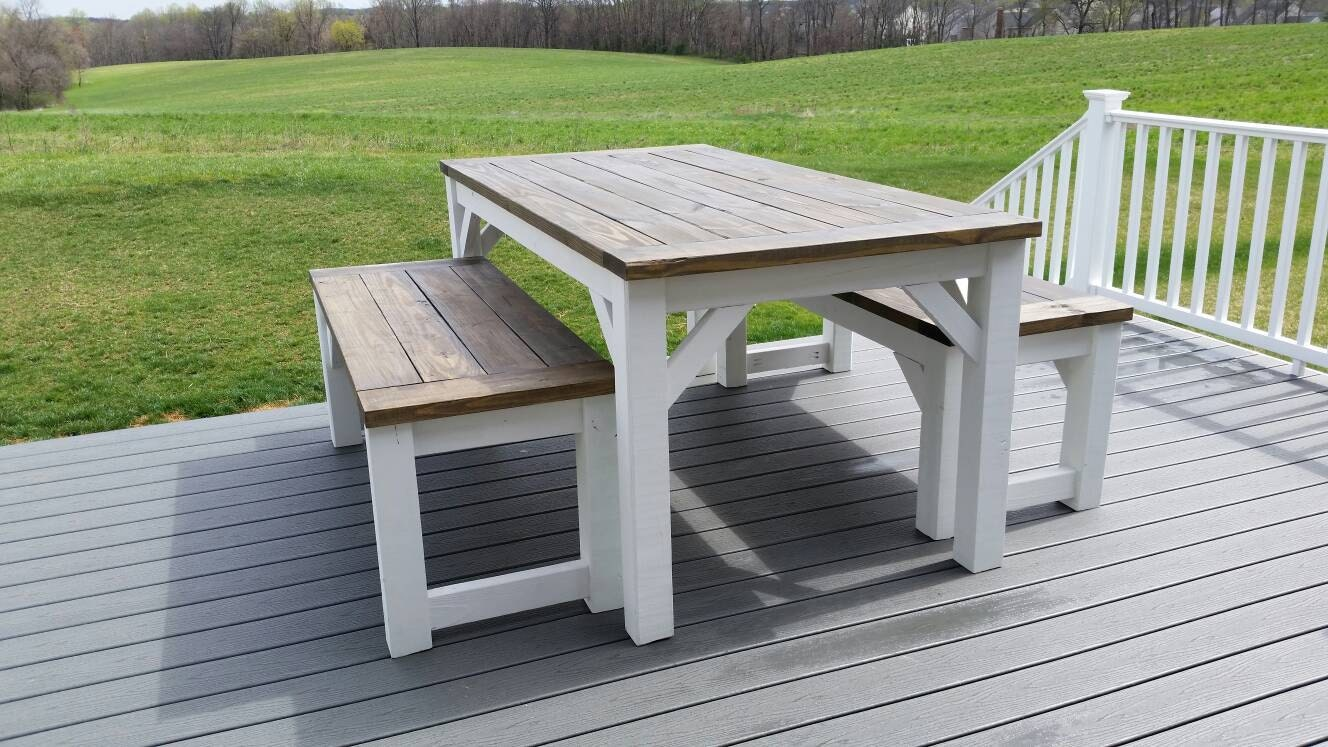 Outdoor Farmhouse Table And Benches