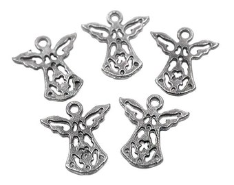 10 Angel Charms Antique Silver Tone | Silver Angel Charms, Angel Pendant, Silver Angel Pendant, Small Angel Charms, Tiny Angel Charm