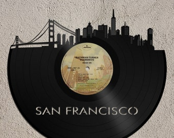 Francisco Skyline, Wall Art on Album, Retro Album Art of San Francisco, Golden Gate Bridge, San Francisco Idea, Francisco Wall Art Gift Idea