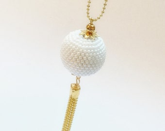Beaded crochet necklace pendant-necklace with Pendant-Necklace Pendant Pearl Pendant-sphere-Moon-white-long necklace Pendant