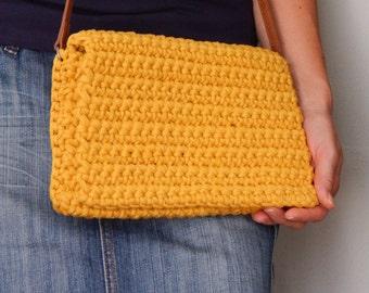Crochet bag, crochet clutch, noodlesyarn bag, mustard color bag