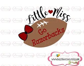 Little miss Go Razorbacks SVG, DXF, EPS cut file girls svg kids svg baby cut file baby svg sayings svg baseball cut file  football svg