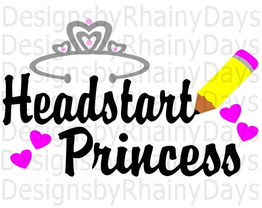 Buy 3 get 1 free! Headstart princess cutting file, SVG, DXF, png, back to school, cute, girl