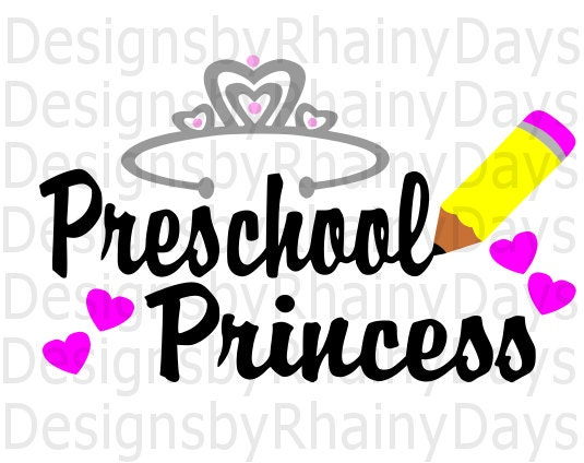 Buy 3 get 1 free! Preschool Princess cutting file, pre school, pre-k SVG, DXF, png, back to school design
