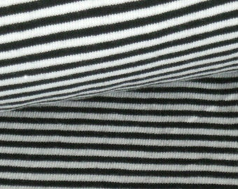 Cotton striped Jersey black and white 3 mm