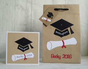 Personalised Graduation Gift Bag, Gift Bag for Graduate, Graduate Gift Bag & Card, Personalised Graduation Card, Graduate Bag and Card Set