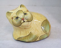 Vintage Archana Paper Mache Cat, Kitten  Made in India FREE SHIPPING