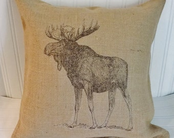 Moose pillow, Moose print, burlap pillow, cottage pillow, moose print, decorative pillow, burlap, rustic pillow, country,