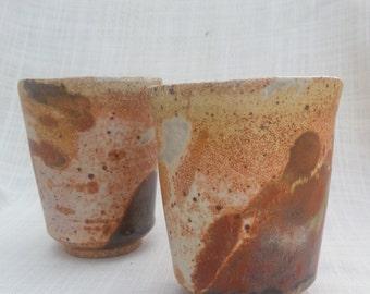 Rustic tumblers orange & brown matt stoneware