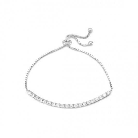 Rhodium Plated CZ Slide Bracelet