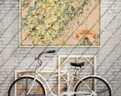 West Virginia WV Vintage Whimsical 1930s' Map - Restoration Hardware Home Deco Style Old Wall Vintage Reproduction Print.