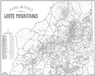 White Mountains NH Hiking Trail Map