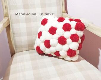 Broken cushion pompom, decorative, red, white, single model