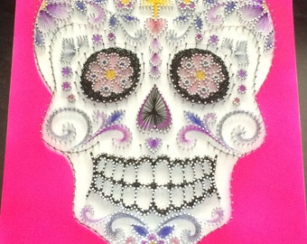 A3 string art sugar skull (calavera)