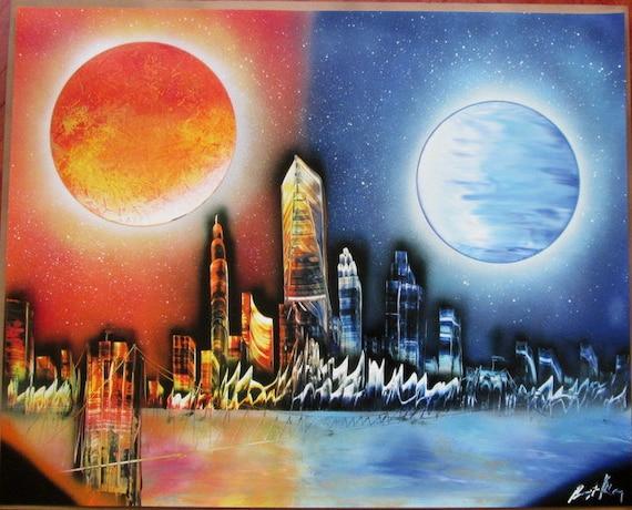 items similar to new york spray paint art new york gift. Black Bedroom Furniture Sets. Home Design Ideas