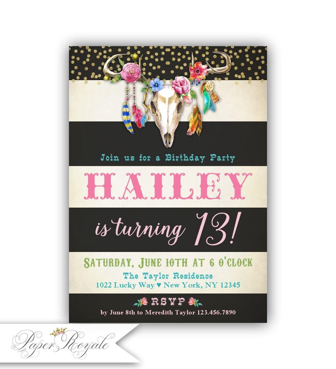 Girls Boho Birthday Invitations for Girls 13th Birthday Boho – 13 Birthday Invitations