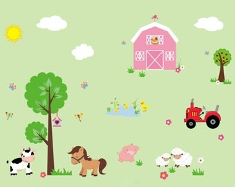 Farm Animal Decals Etsy - Barnyard nursery wall decals