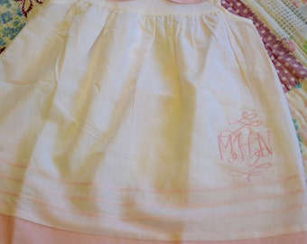 Custom monogrammed linen dress with peter pan collar
