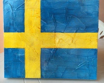 25 x 30 cm acrylic on canvas Sweden flag Svedish flag furniture collection
