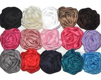 Satin Rose Flowers, You Choose Quantity, Wholesale Fabric Flowers, Headband Supplies, DIY Mixed Flowers, Flower Applique / Embellishment, #1