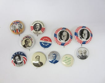 11 Vintage Reproduction Political Buttons
