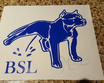 Pitbull Peeing on BSL Decal