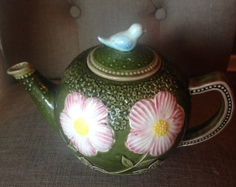 Vintage Takahashi Teapot With Flowers And Bird
