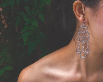 Sparkly Chandelier Earrings, Crystal Bridal Earrings, Vintage Style Crystal Earrings, Wedding Earrings, Bridesmaid Earrings, Jewelry