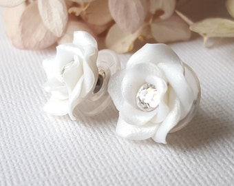 White, Handmade Rose Stud Earrings, clear Swarovski Crystal Center, 12mm Nickel Free Titanium Posts with silver toned disk backs
