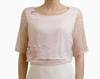 Pure Silk Organza hand embellished crop top in Pale Pink