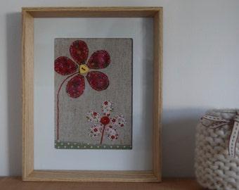 Handmade flowers applique textile art - red