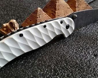 Ontario RAT 1 diagonal toxic pattern knife custom handmade scales.