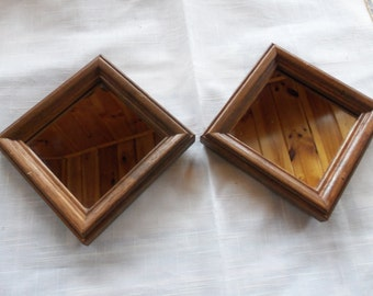 2 vintage home interior mirrors in square wooden frames square or ractangular hanging wall decor 5 1/8 x 5 1/8 with hangers on back