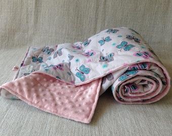 Baby Blanket- Minky dot pink - cotton grey& butterfly's