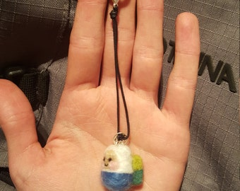 Needle felted finn the human adventure time zipper charm with small bell