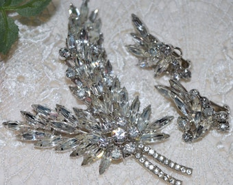 2 Piece, D & E, Juliana, Crystal Brooch and Earrings! Beautiful