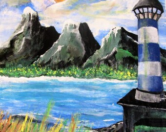 Painting of the lighthouse blue